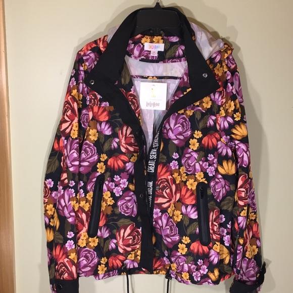 Black Floral Full Zip Hooded Windbreaker Jacket